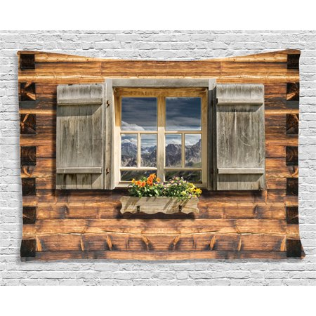 Shutters Decor Tapestry, Weathered Facade of A Mountain Hut with Reflections on the Window Picture, Wall Hanging for Bedroom Living Room Dorm Decor, 60W X 40L Inches, Brown Green, by Ambesonne ()