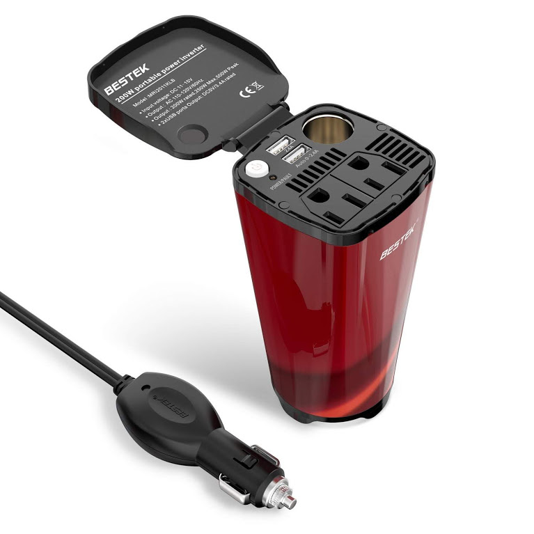 BESTEK 200W Power Inverter for Car with 2 AC Outlets and 4.5A Dual USB Ports Car Power Inverter Adapter with Car Cigarette Lighter Socket