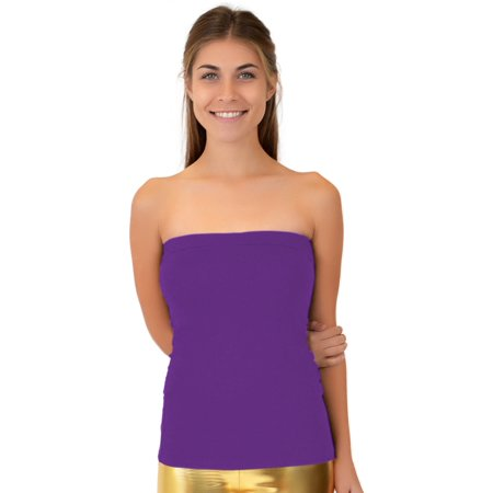 38ac06c5a4 Stretch Is Comfort - Teamwear Cotton Strapless Tube Top - Large Adult  (8-10)   Purple - Walmart.com