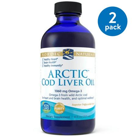 (2 pack) Nordic Naturals Cod Liver Oil Liquid, Natural, 750 Mg, 8 Oz