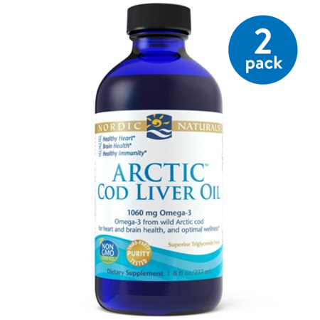 (2 pack) Nordic Naturals Cod Liver Oil Liquid, Natural, 750 Mg, 8 (Cod Liver Oil Daily Dosage For Adults)