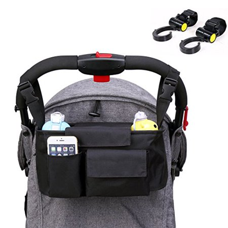 Stroller Organizer - Waterproof Buggy Organizer for Moms, Universal Fit Pram Hanging Bag, Large Capacity Storage Bag for Diapers?Toys?Wallets?iphones, With 2 Stroller Hooks (Black)