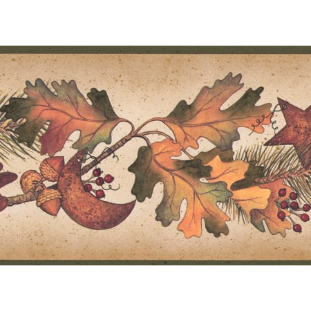Autumn Leaves Pine Needles on Branches Acorns Pine Cones Fall Wallpaper Border Retro Design, Roll 15' x 5'' - Fall Border