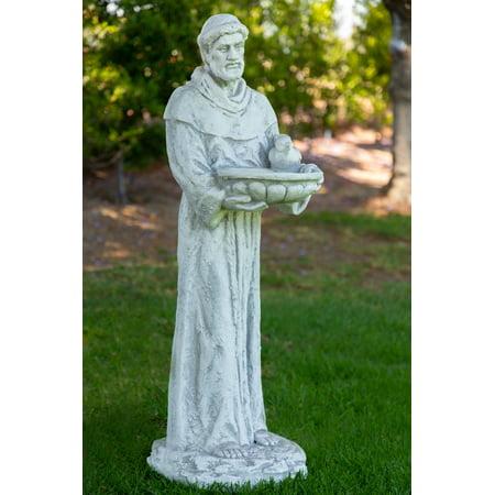 Alpine St. Francis Holding a Birdbath Statue, 45 Inch - St Francis Statue