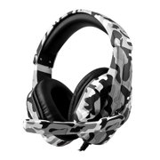 Gaming Headphones, Camouflage Wired Gaming Headset, Stereo Sound Over Ear Earphone with Microphone for PC, Laptop, PS4