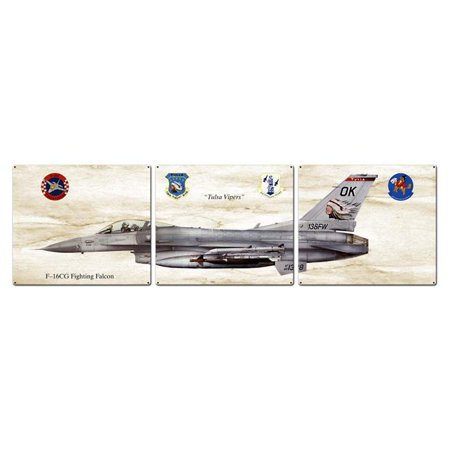 F-16CG Fighting Falcon Triptych Plasma Metal Sign - 48 x 14 in. - image 1 de 1