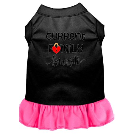 Family Favorite Screen Print Dog Dress Black with Bright Pink Lg