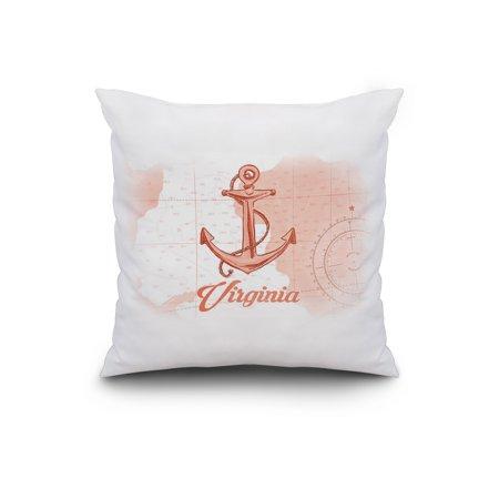 Virginia Anchor Coral Coastal Icon Lantern Press Artwork 20x20 Spun Po