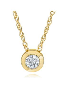 "Pompeii3 14K Yellow Gold 1/4ct Round Diamond Solitaire Bezel Pendant & 18"" Chain"