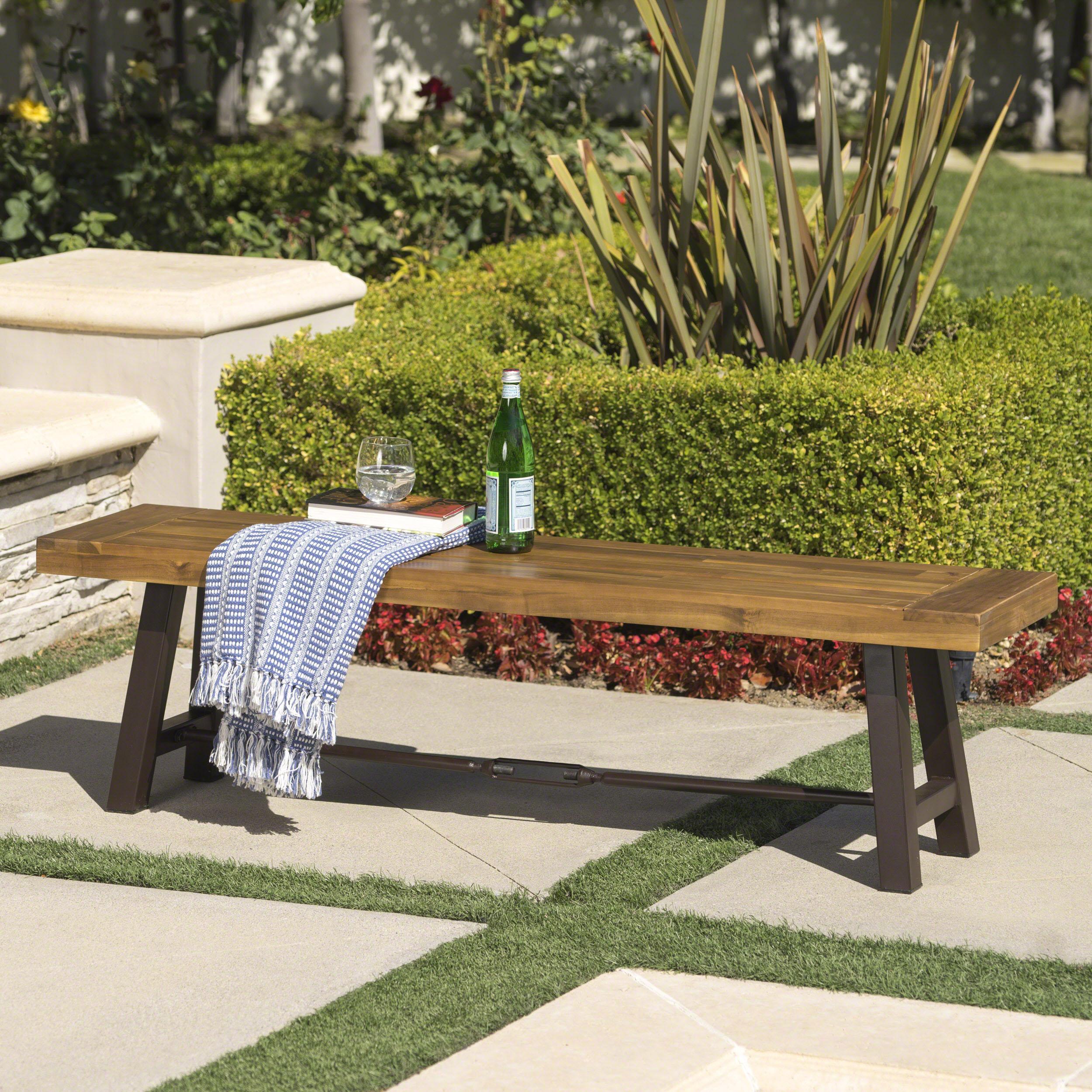 Katia Outdoor Acacia Wood Bench with Rustic Metal Accents, Teak Finish