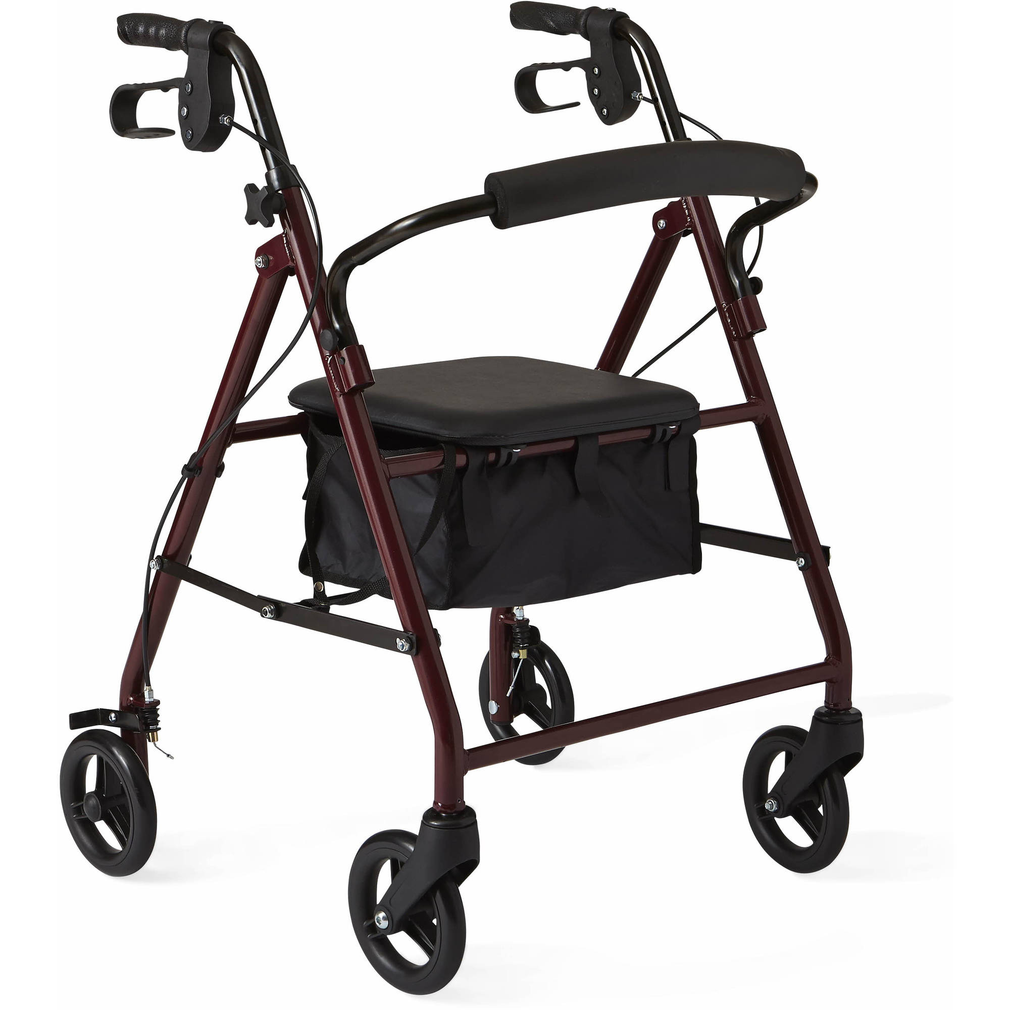Medline Junior Rollator Walker, Burgundy