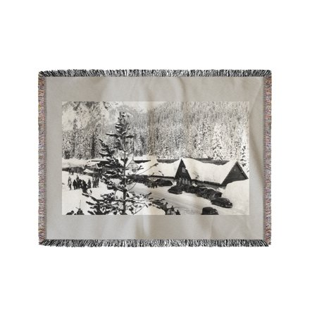 Snoqualmie Pass Ski Park And Lodge Photograph  60X80 Woven Chenille Yarn Blanket