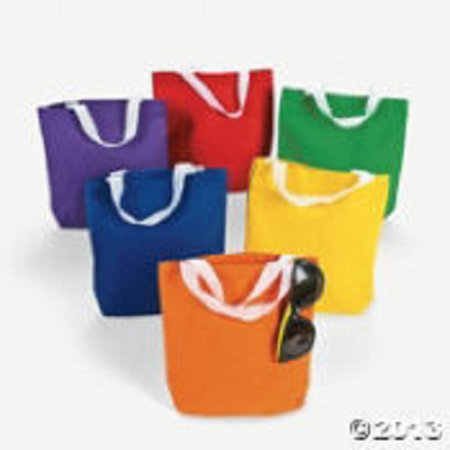 12 Blank Small Asst Color Canvas Teacher Craft Tote Bag