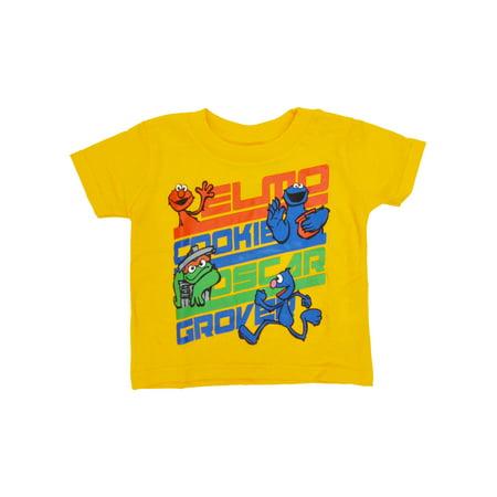 Baby Boys Sesame Street Names T-Shirt - Short Sleeve Yellow
