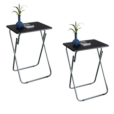 Folding TV and Snack Tray Table Black-set of 2 ()