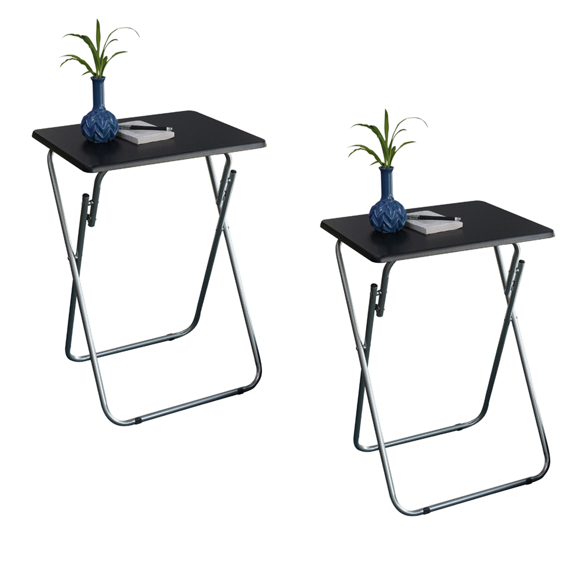 Folding TV and Snack Tray Table Black-set of 2
