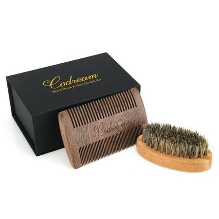 Codream Men's Shaving Set Sandalwood Beard Comb Boar Bristles Mustache Brush for Stylish (Stylish Beard And Mustache)