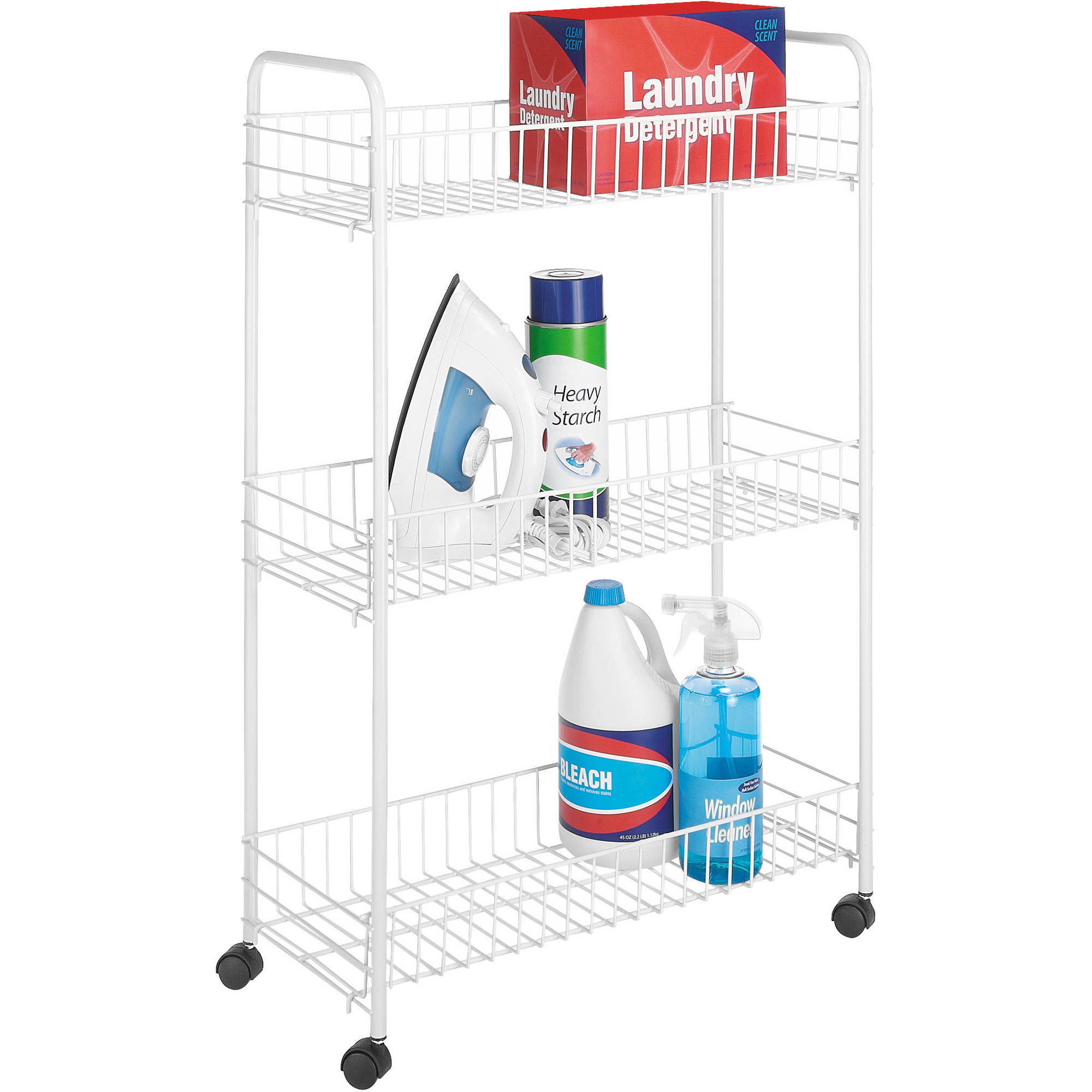 Whitmor Slim Rolling 3-Level Wire Cart