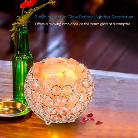 Himalayan Salt Lamp Pink Crystal Sea Salt Rock Lamp Bowl 2x15W Bulbs,Metal (Firebowl Lamp)