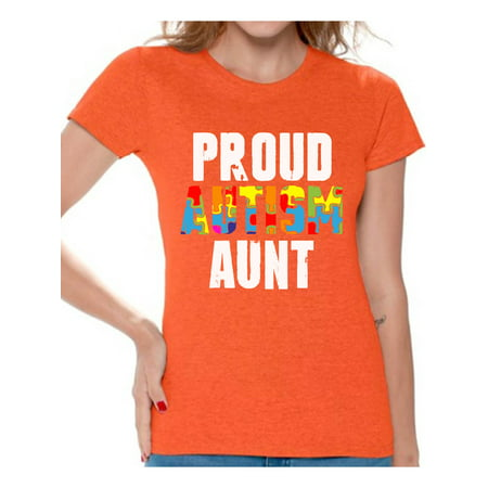 Awkward Styles Proud Autism Aunt Tshirt for Women Autistic Pride Autism Awareness Family Shirts Autism Gifts for Women Autism Awareness Shirts for Her Family Autism T Shirts Autism Gifts for Aunt