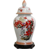 "18"" Cherry Blossom Porcelain Temple Jar"
