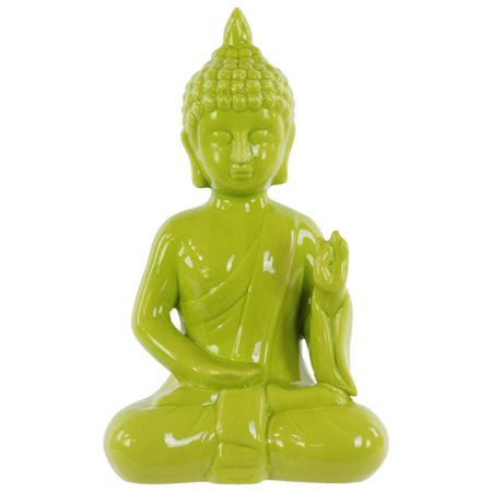 Ceramic Meditating Buddha In Abhaya Mudra - Yellow Green