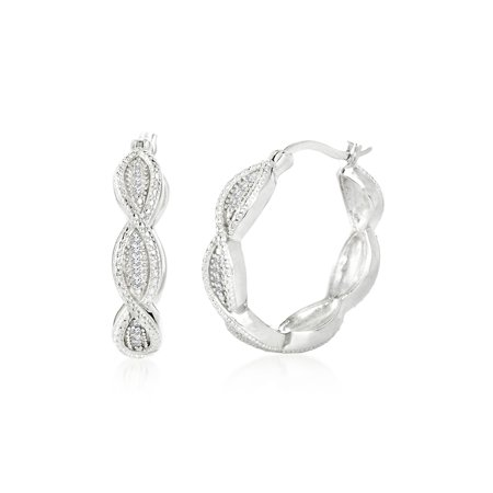 Diamond Accent Swirl Design Hoop Earring