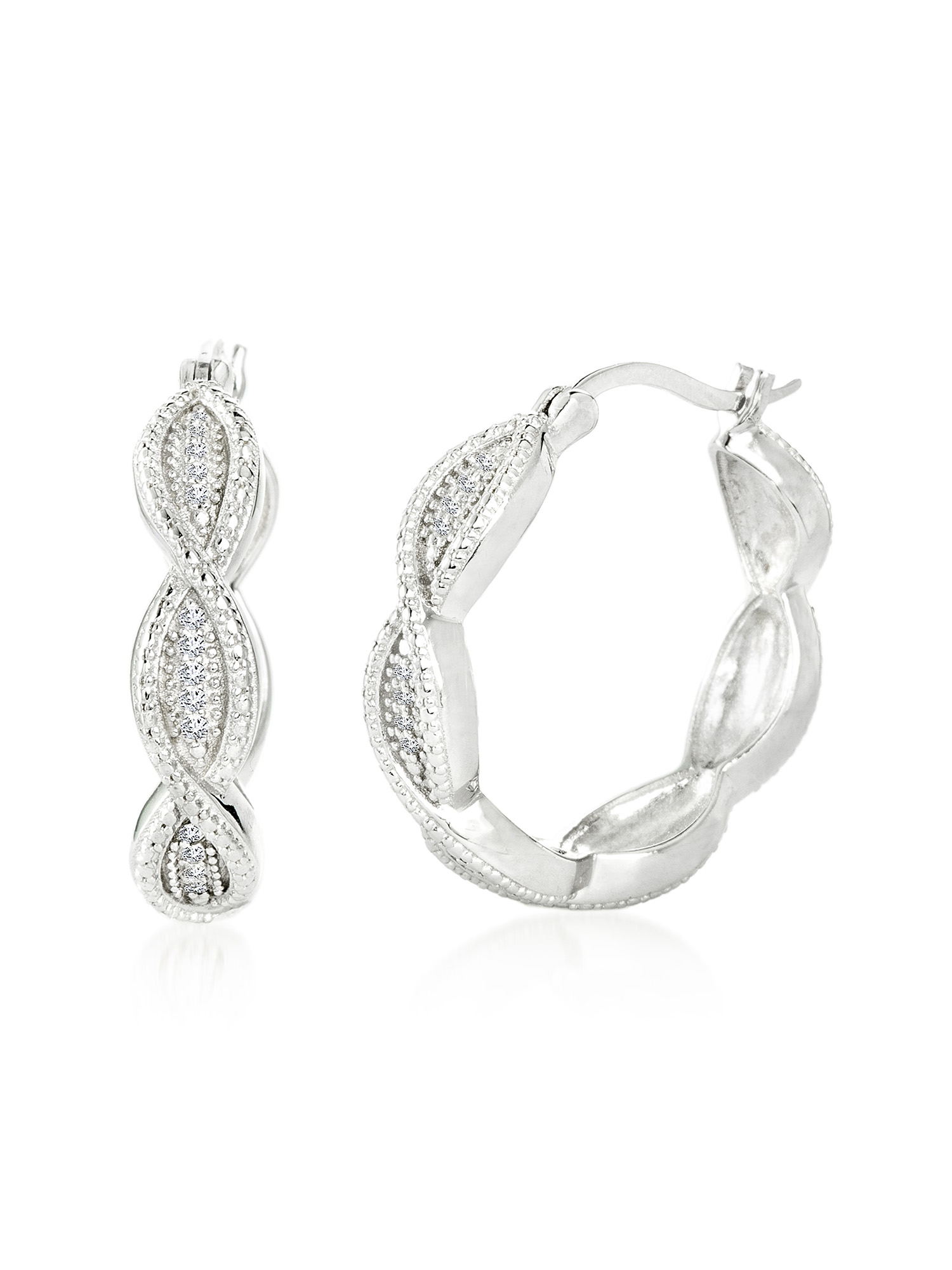 Lumineux Diamond Accent Swirl Design Hoop Earring