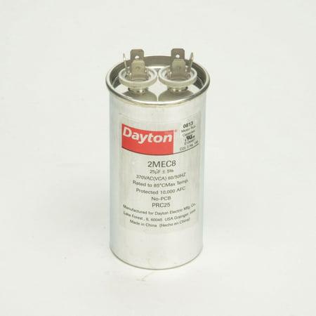 Dayton Round Motor Run Capacitor, 25 Microfarad Rating, 370VAC Voltage - 2MEC8 Motor Running Capacitor