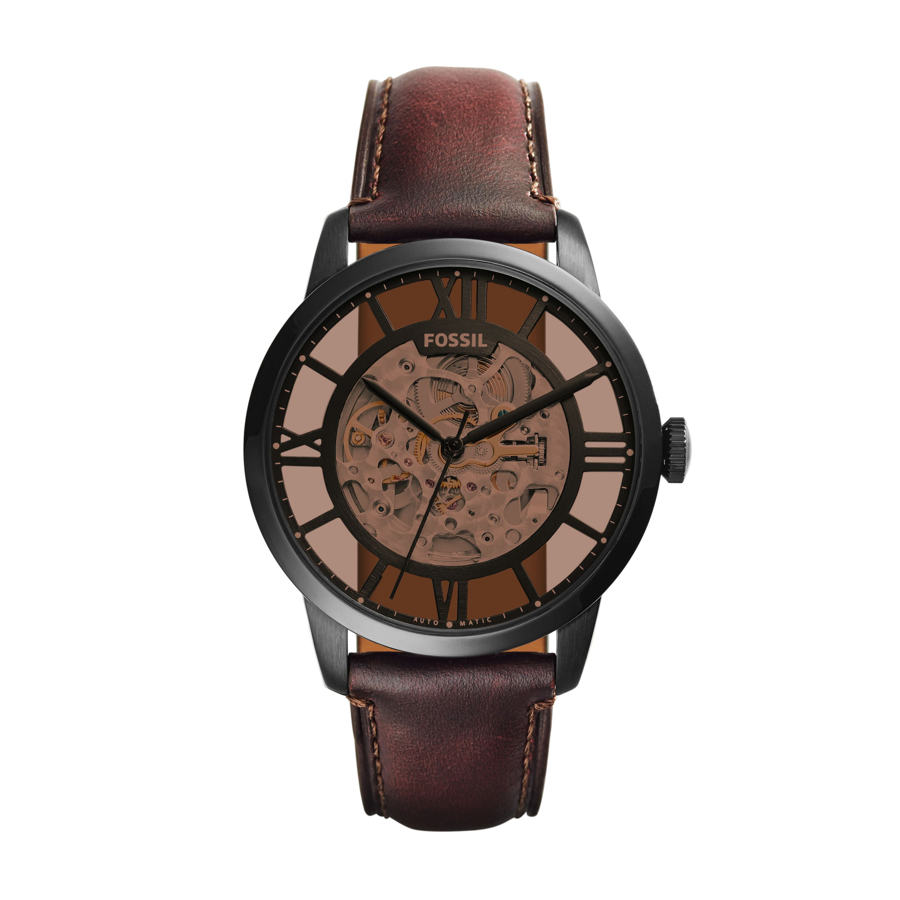 f22bcaa4d Men's Townsman Automatic Dark Brown Leather Dress Watch (Style: ME3098)