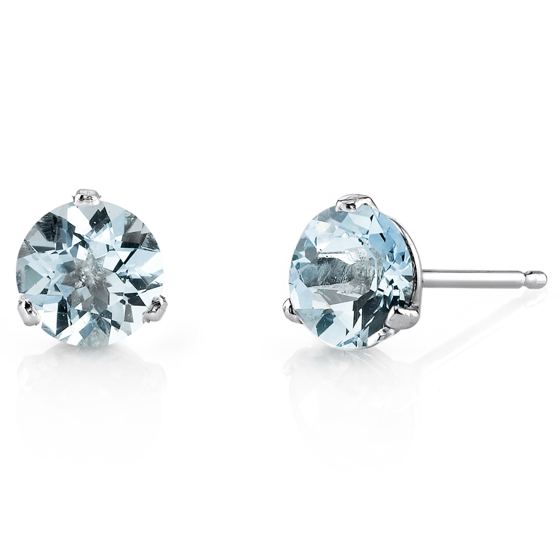 Peora 1.50 Ct T.G.W. Round-Cut Aquamarine 14K White Gold Stud Earrings