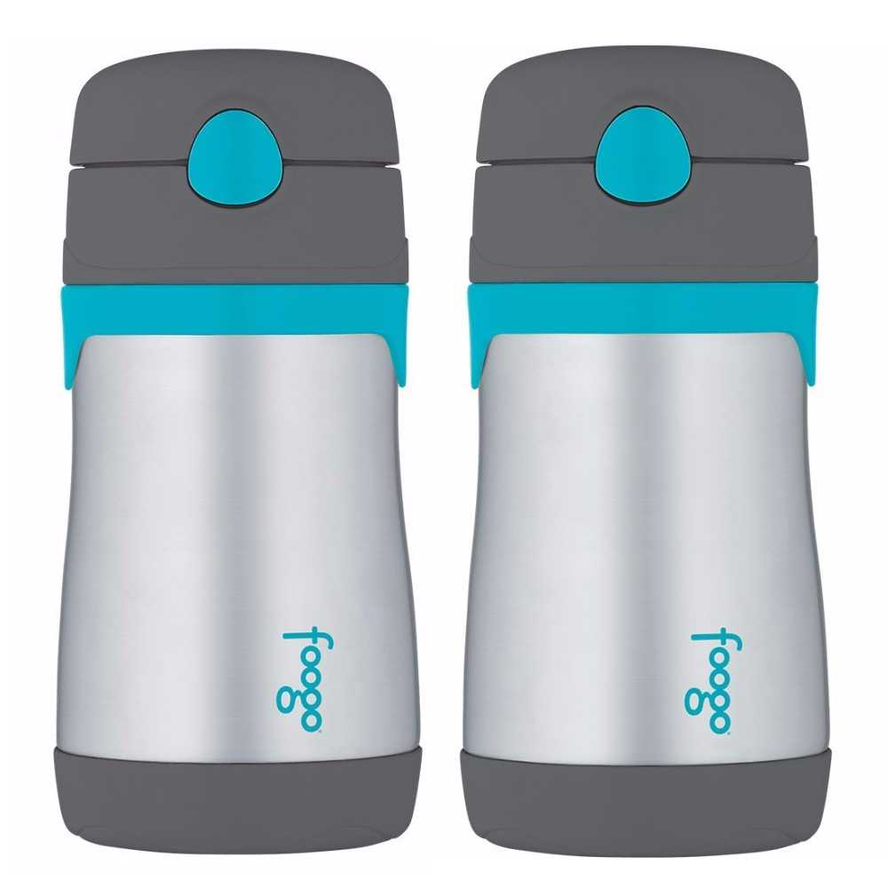 Thermos Foogo 10 Oz Vacuum Insulated Straw Bottle (Charcoal/Teal, 2-Pack)