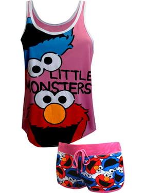 Sesame Street Cookie Monster and Elmo Shortie Pajama Set