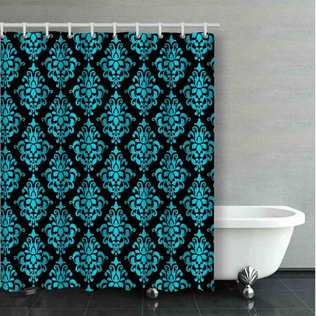 ARTJIA Teal Blue And Black Floral Pattern Flower Design Decorative Bathroom Shower Curtain 66x72 inches - Black And Teal