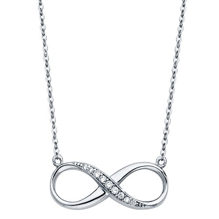 Ioka - 14K White Gold Forever Love Infinity Symbol Charm With Cubic Zirconia CZ Trendy Pendant Chain Necklace - 17+1