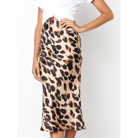 Leg Avenue Leopard Skirt - Womens Elastic Waist Band Slim Fit Bodycon Leopard Elegant Pencil Midi Skirt