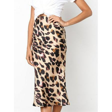 Womens Elastic Waist Band Slim Fit Bodycon Leopard Elegant Pencil Midi Skirt