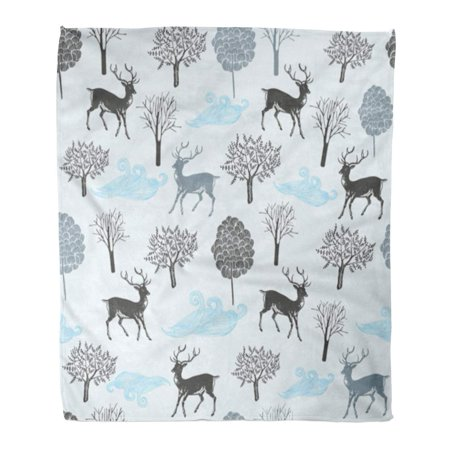 ASHLEIGH Flannel Throw Blanket Pattern Blue Adorable Deer Forest Nature Silhouette Celebration Soft for Bed Sofa and Couch 50x60 Inches