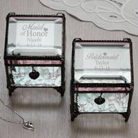 Personalized Bridal Party Glass Keepsake Box