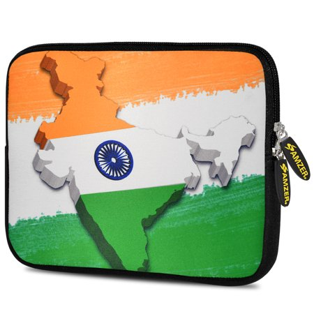 Designer 10.5 Inch Soft Neoprene Sleeve Case Pouch for Apple iPad Pro 9.7, iPad 2, iPad 3, iPad 4 (Fit with Smart Case, Folio Covers) - India Map