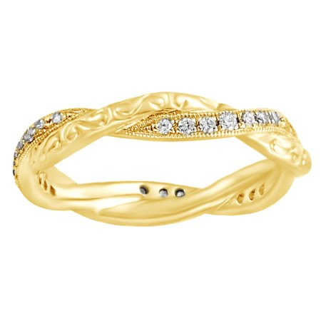 Round White Natural Diamond Twisted Eternity Band Ring In 14K Solid Yellow Gold (0.2 Ct)