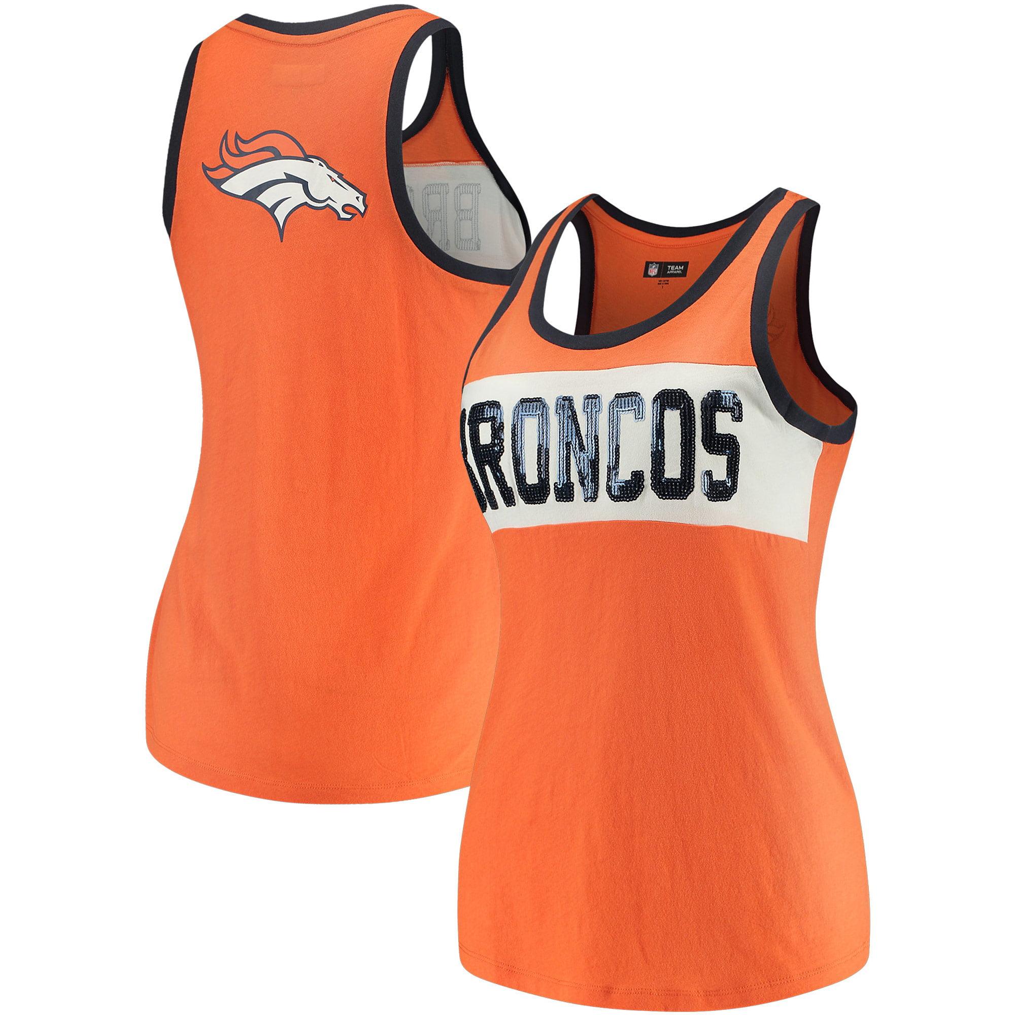 Denver Broncos 5th & Ocean by New Era Women's Sequin Baby Jersey Tank Top - Orange/White