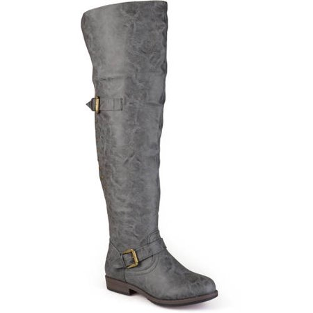Womens Over-the-knee Buckle Studded Boots