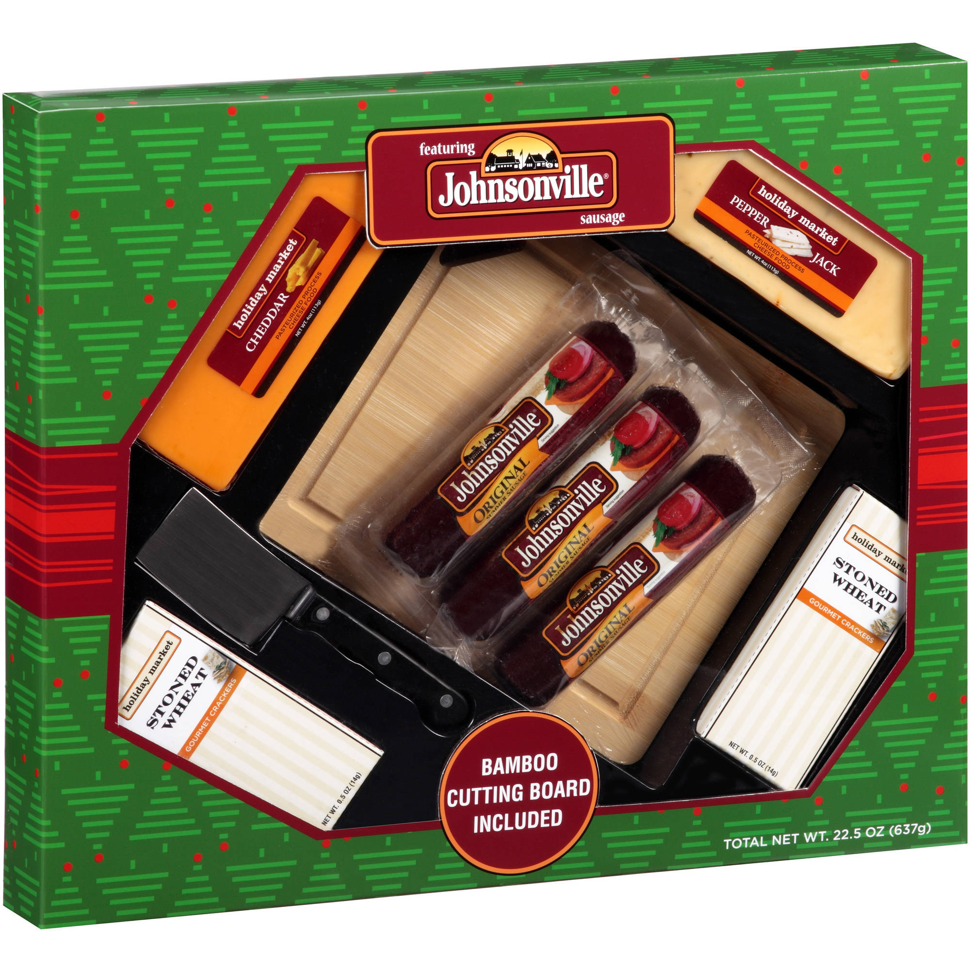 Johnsonville Holiday Feast Box Sausage Cheese & Crackers Set Gift, 9 pc