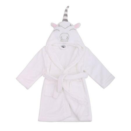 Girls Robe Animal Plush Soft Hooded Terry Bathrobe,Unicorn White,M(4-6 Years)
