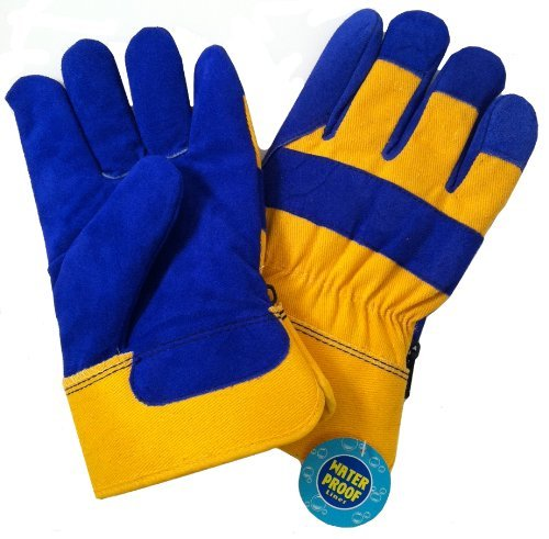 B.A.G.G. BLUE And YELLOW Waterproof Insulated WINTER Work Gloves - L, Durable, Comfortable, Abrasive-Resistant Cowhide Leather By B.A.G.G. Inc.