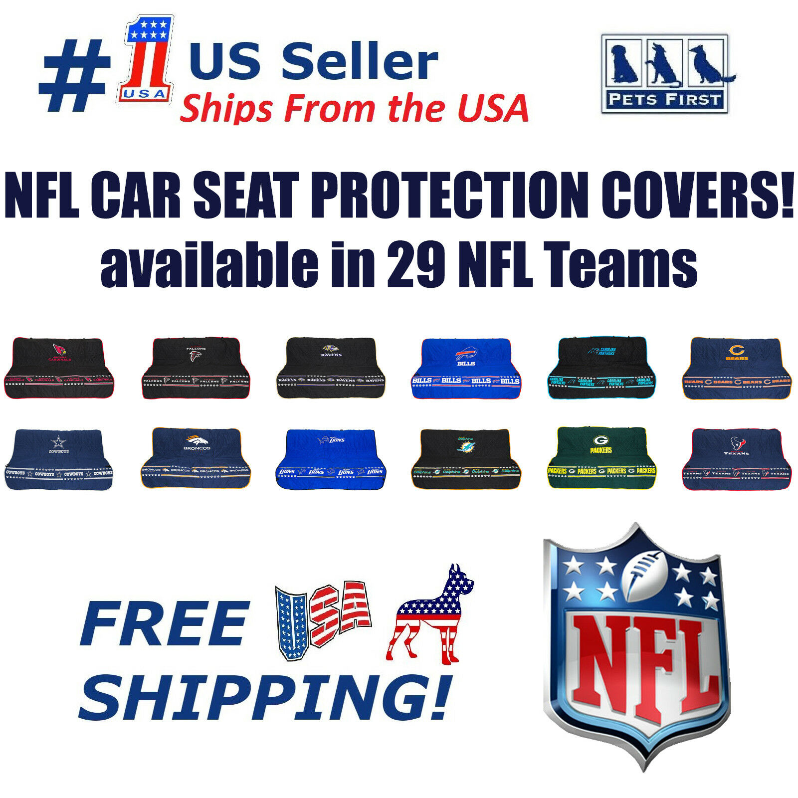 Pets First NFL CAR SEAT Cover Non-Slip Best Football Licensed PET SEAT Cover for Dogs /& Cats. Buffalo Bills Waterproof