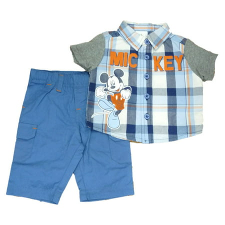 Disney Mickey Infant Boys Baby Outfit Blue Plaid Button Up Shirt & Pants Set (Custom Disney Outfits)