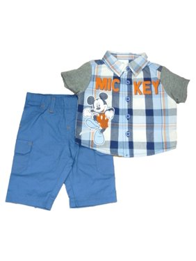 911ee434d Product Image Disney Mickey Infant Boys Baby Outfit Blue Plaid Button Up  Shirt & Pants Set
