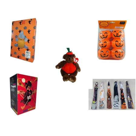 Halloween Fun Gift Bundle [5 Piece] -  Ghost Pumpkin Push In 5 Piece Head Arms Legs - Party Favors Pumpkin Candy Containers 6 Count - Ty Attic Treasures